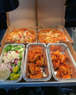 ✨All Star Box✨ •$55 •feeds 4-6 people •Two pizzas •Two dozen wings (2 sauces) •Greek salad or Greek pasta salad