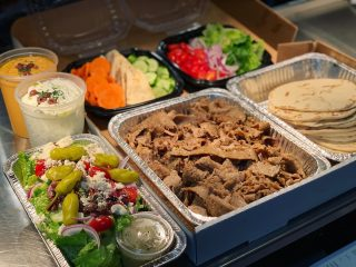 Need dinner plans? Order our Niko's Dinner Box! •$50 •feeds 4-6 people •gyro meat •pita bread •quart of tzatziki •tomatoes, onions, lettuce •quart of hummus •Greek salad or Greek pasta salad