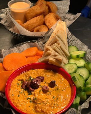 Join us for lunch or dinner today! Start off with Spicy Feta dip and Beer Battered onion rings