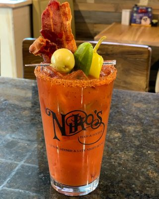 Come brunch with us! Our Niko's Spicy Bloody Mary is like a meal all by itself!