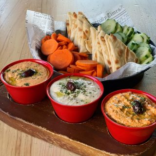 Can't decide on a hummus? It's okay! Just order the Tri Dip and pick 3 different ones to enjoy all at once!