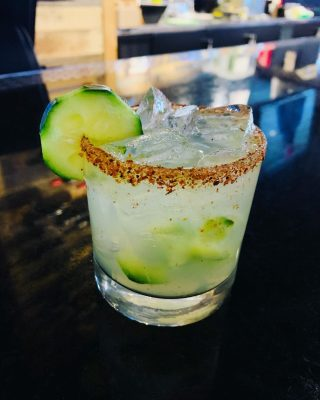 ✨NEW COCKTAIL✨ 🥒Cucumber Margarita Muddled cucumbers, fresh squeezed lime, real juice margarita mix, tequila, rimmed with tajin seasoning with agave drizzled on top