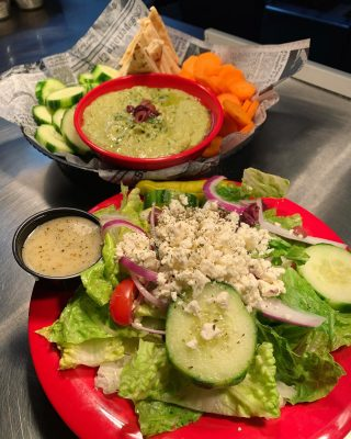 Great starters! Cilantro Jalapeño Hummus and our side Greek salad