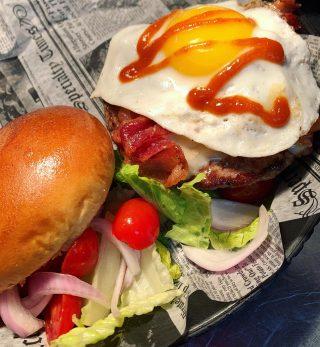Hot Mess Burger •angus patty, pepper jack cheese, egg, bacon, sriracha