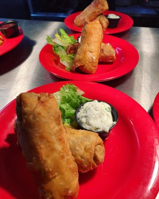 ✨FEATURE✨ Lamb & beef egg rolls •lamb & beef, tomatoes, onions, with a side of Tzatziki