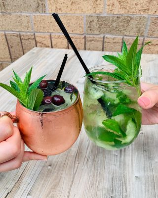 Enjoy a Blueberry Mule or Cucumber Mint Cooler on the patio today!