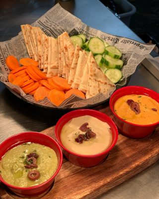 Tri Dip Sampler is the way to go •Cilantro Jalapeño •Garlic •Roasted Red Pepper